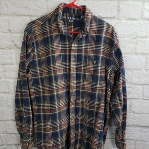 Trader Bay Men's Blue Plaid Flannel Size  Large